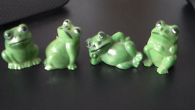 Four Vintage Mini Plastic Frog Figurines Made in Hong Kong