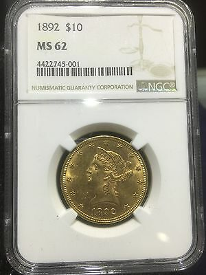 1892 $10 Gold Liberty Pre-33 Type Gold NGC MS 62