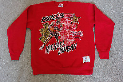 Vintage 90s Nutmeg Chicago Bulls M.Jordan NBA Basketball LARGE Made in USA