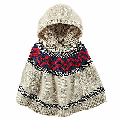 Oshkosh B'gosh Toddler Girls Dark Oat Tan Hooded Fair Isle Poncho 3T NWT