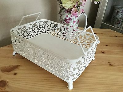 French Country Chic Style Ornate Metal Tray Decorative Shabby Vintage Antique