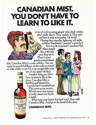Original Print Ad-1970 CANADIAN MIST-You don't have to learn to like it.-Cartoon