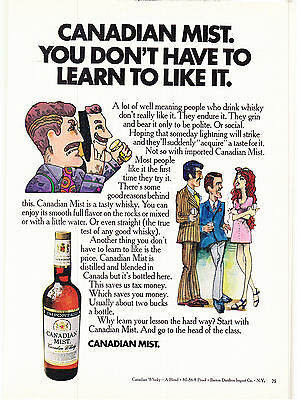 Original Print Ad-1971 CANADIAN MIST-You don't have to learn to like it. Cartoon