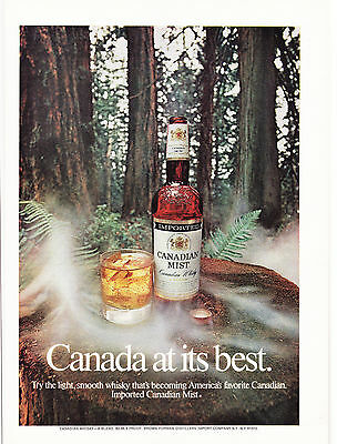 Original Print Ad-1972 CANADIAN MIST-CANADA AT ITS BEST-Glass/ Misty Tree Stump
