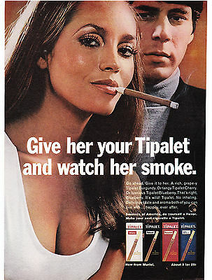 Original Print Ad-1970 Give her your TIPALET and watch her smoke-Sexy Cleavage