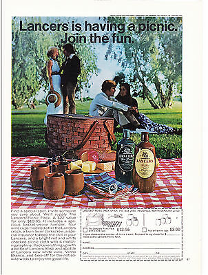 Original Print Ad-1972 LANCERS is having a picnic-Join the fun. Wine Rose/Blanco
