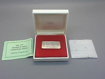 1977 Franklin Mint Christmas Ingot Making Gingerbread Sterling Silver 500 Grains