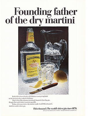 Original Print Ad-1969 Founding Father of The Dry Martini-Fleischmann's Gin-1870