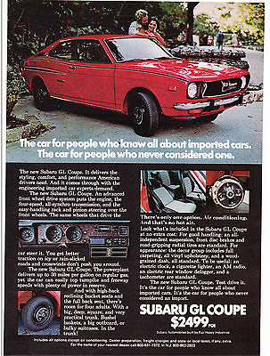 Original Print Ad-1972 SUBARU GL COUPE-Style/Comfort/Performance For Americans