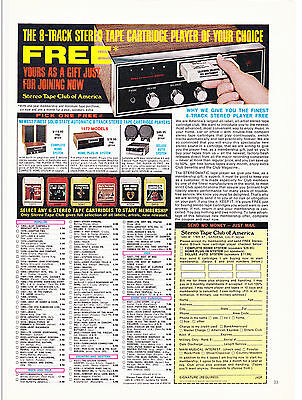 Original Print Ad-1972 Join The Stereo Tape Club of America-Free 8 Track Player