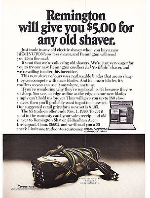 Original Print Ad-1970 REMINGTON will give you $5.00 for any old shaver. B&W Ad