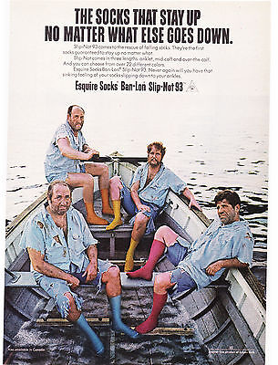 Original Print Ad-1970 Esquire Socks-Stay up no matter what goes down-Lifeboat