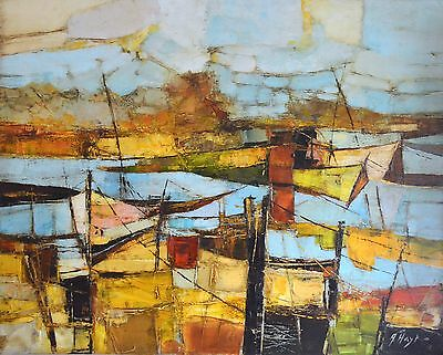"Original Abstract Painting Acrylic on Canvas ""Boats"" 24""x30"" signed by artist"