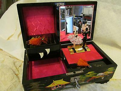 MOP Japan Lacquer Hand Painted Multi-Drawer Jewelry Box with Dancers/Music/Key
