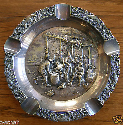 E.P.N.S. Silverplate Repousse Ashtray Made in Holland