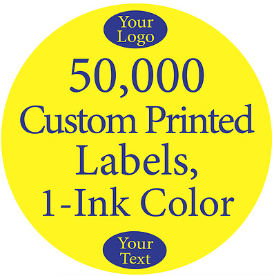 "50,000 Printed Labels Custom 1"" Round Circle Business Stickers 1-Color, on Rolls"