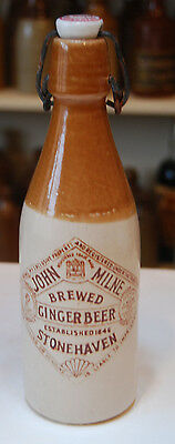 John Milne, Stonehaven, 9 inch Stoneware Ginger Beer Bottle with Sepia Transfer