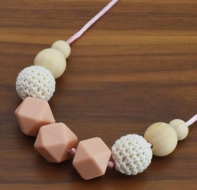 Handmade Necklace Beaded Crochet, Silicone, Natural Wooden Bead baby shower gift