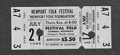 Original 1966 Newport Folk Festival Unused Full Concert Ticket Lovin' Spoonful