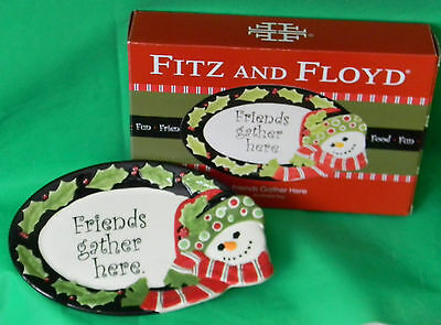 """FRITZ and FLOYD """"Friends Gather Here"""" Sentiment Christmas Platter Tray In Box"""