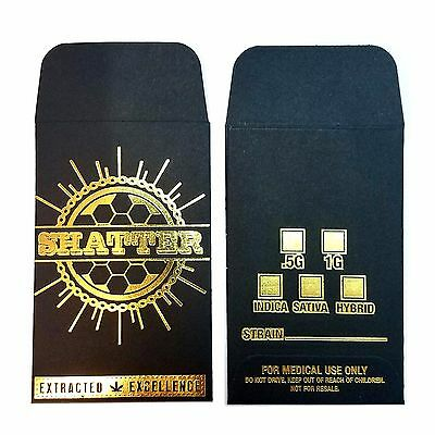 100 Original Black Gold Shatter Wax Extract Coin Foil Envelopes #007