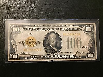 1928 $100 Dollar Gold Certificate Note Bill Paper Money Currency
