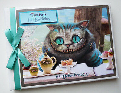 Personalised Cheshire Cat/alice In Wonderland/1St Birthday Guest Book Any Design