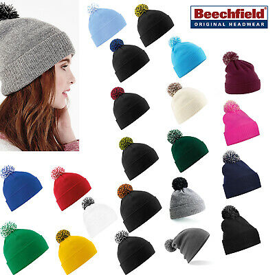 Beechfield Snowstar Beanie - Cuffed/Slouch winter hat pom pom for men/women B450