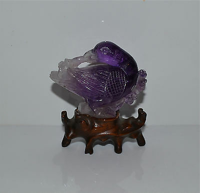 Old Chinese Carved Amethyst Bird on Custom Wood Stand Hardstone Carving