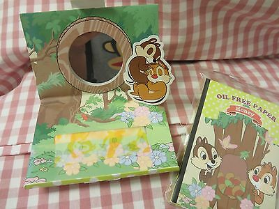 Japan Disney Chip N Dale Oil Free Paper with built in small Mirror