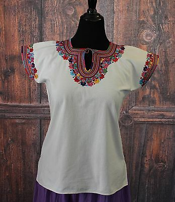 Multi-Color, Extra FINE Embroidery Mayan Huipil, Chamula Chiapas Mexico Hippie