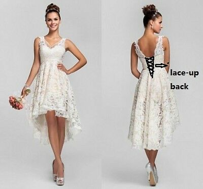 White/Ivory Lace High Low Wedding Dress Bridal Gown Formal Prom Stock Size 6-20
