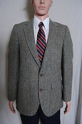 VTG '80s Harris Tweed two button pinstripe olive wool sport coat blazer 38