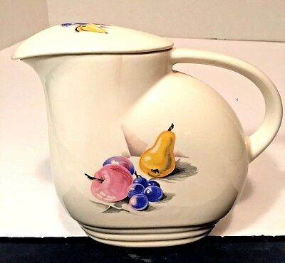 Vintage 1940s Art Deco Knowles Utility Ware Ice Lip Ceramic Pitcher w Lid Fruit