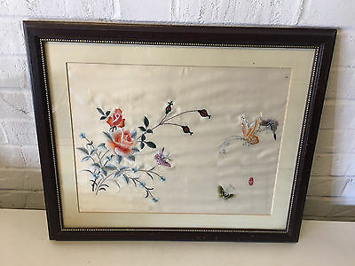 Vintage Possibly Antique Chinese Framed Silk Embroidery Flowers & Butterflies