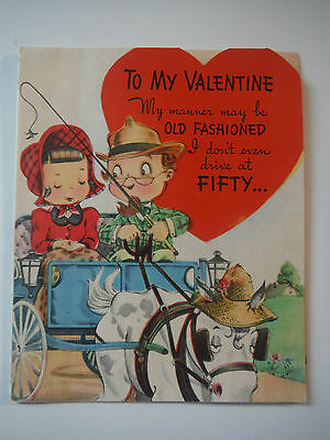 Vintage Valentine / Couple in buggy / 1940s