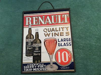 Rare Antique Advertising Trade Sign Wine Renault Winery New Jersey