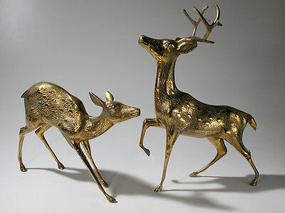 Pair of Vintage Mid Century Large Brass Spotted Buck and Doe Deer Statues