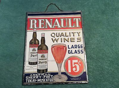 Rare Antique Advertising Trade Sign Wine Renault Winery New Jersey 15 Cents