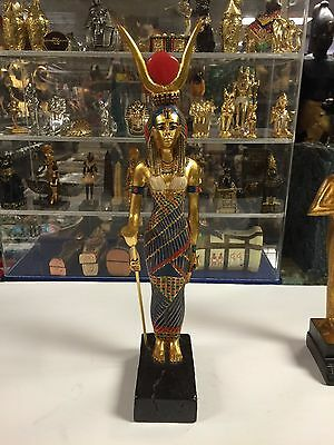 ARTISANS GUILD EGYPTIAN STATUE GODDESS  ISIS ( Marble hand gold leafed )