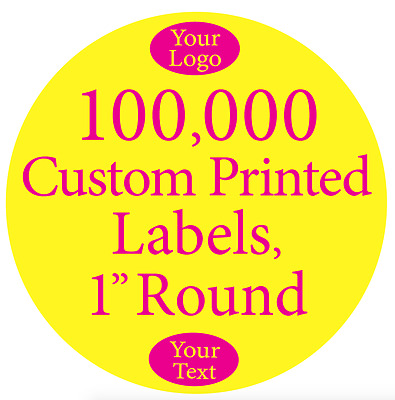 "100,000 Printed Labels Custom 1"" Round Circle Business Stickers 1-Color on Rolls"