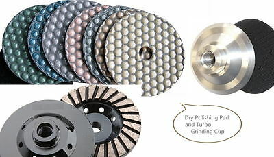 "5"" Diamond DRY Polishing Pad 22 + Aluminum Backer Grinding cup terrazzo concrete"