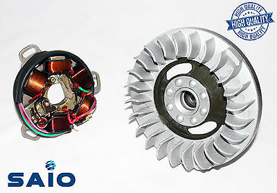 Saio 6V Flywheel + Stator Plate Kit Large Cone For Lambretta LI TV SX