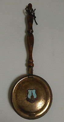 Small Vintage copper bed warmer pan wooden handle chesterfield
