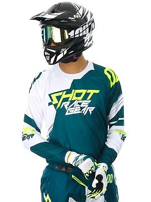 Jersey MX Shot 2017 Contact Claw Teal Azul-Neon Amarillo