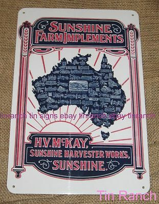 SUNSHINE FARM IMPLEMENTS TIN SIGN new! HV McKay vintage Harvester tractor Aussie