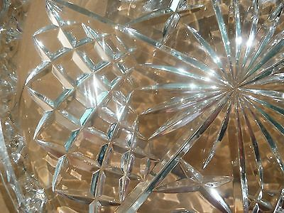 Stunning Crystal Cake Plate Stand With Diamond Cut & Star Burst