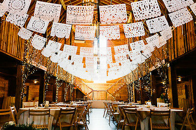 """PAPEL PICADO """"Mexican Wedding"""" 5m/16.4ft MEXICAN PAPER BUNTING BANNERS GARLANDS"""