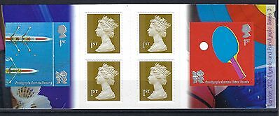 GB STAMP BOOKLET  PM24 : London 2012 Olympic & Paralympic Games Rowing/ Tennis 3