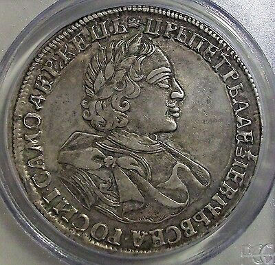 ≠Аψк(1720) Russia Czar Peter I (The Great) Silver Ruble Pcgs Xf-40 L@@k